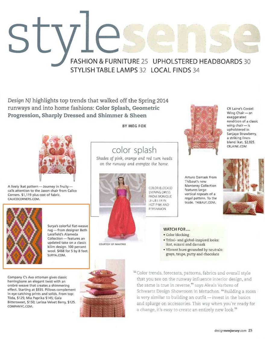 Top Trends That Walked Off The Spring 2014 Runways And Into Home Fashions  Are Highlighted In The Color Splash Section, Including An Eye Catching  Flatweave ...