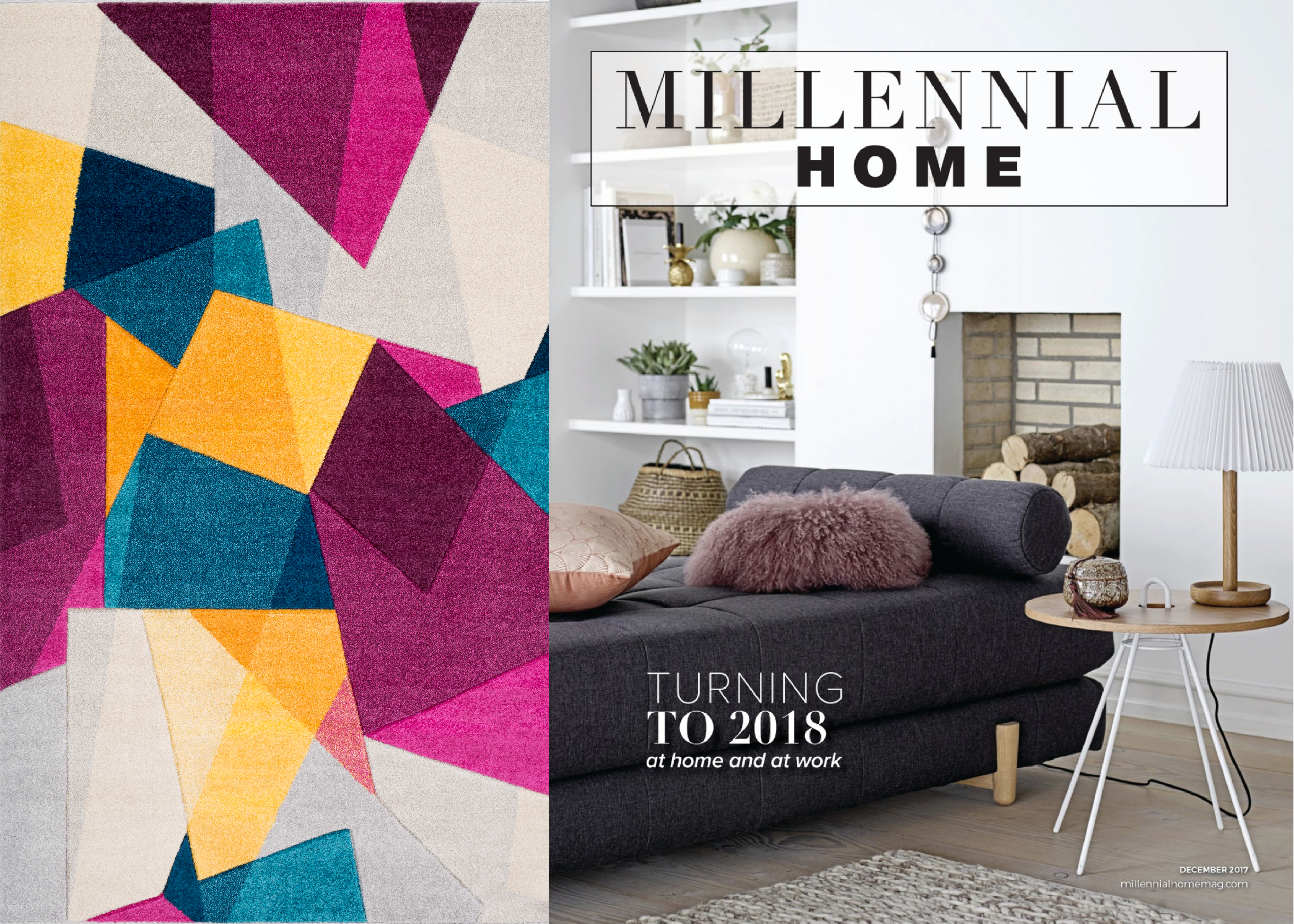 Millennial Homeu0027s December 2018 Issue Highlights The Saturated Jewel Tones  That Appeal To The Millennial Generation, Including Suryau0027s Machine Made  Rio Rug.