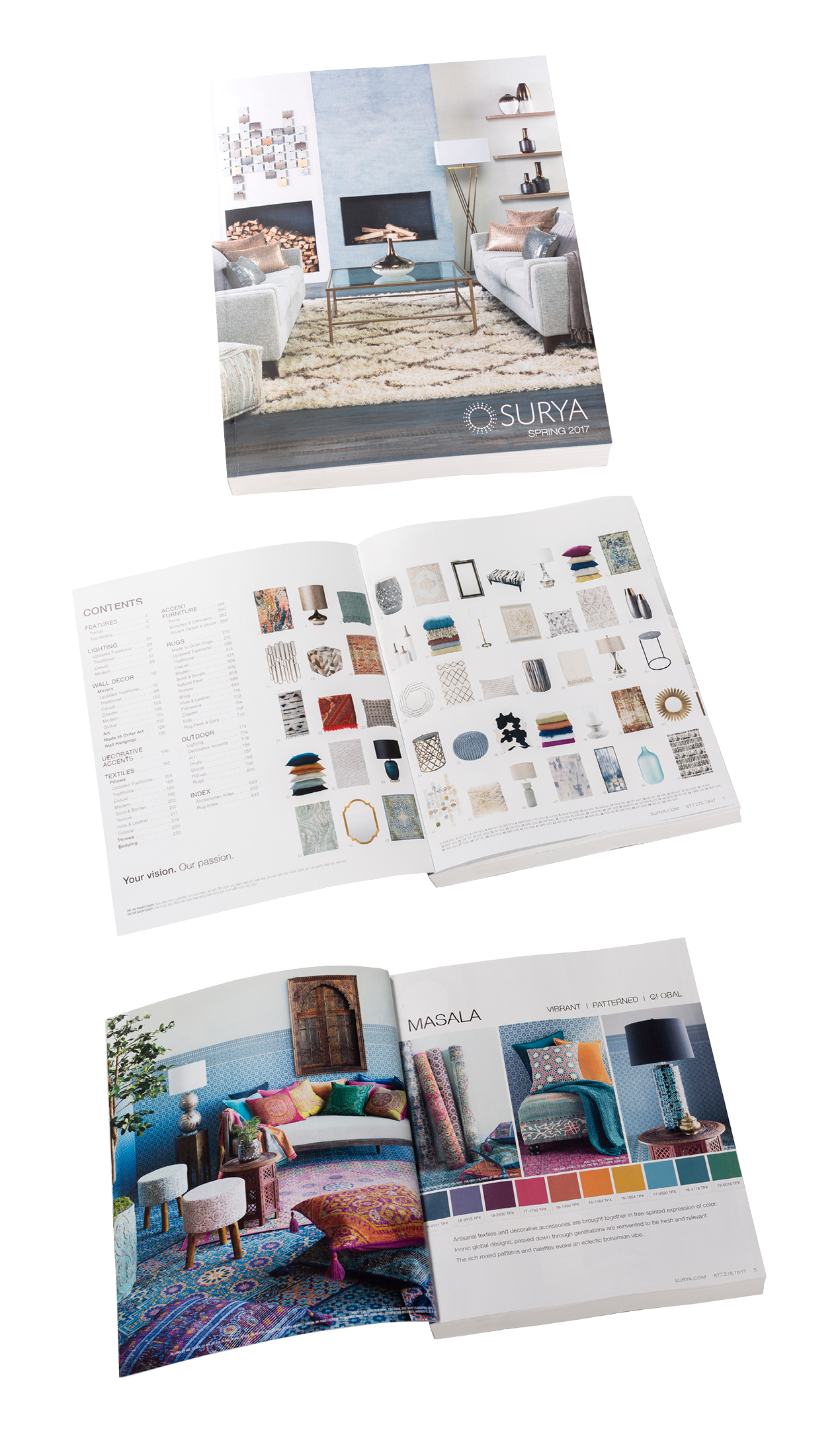 The catalog opens with four decor trends elegant and textural achromatic vibrant and worldly masala muted and structural origami and colorfully modern