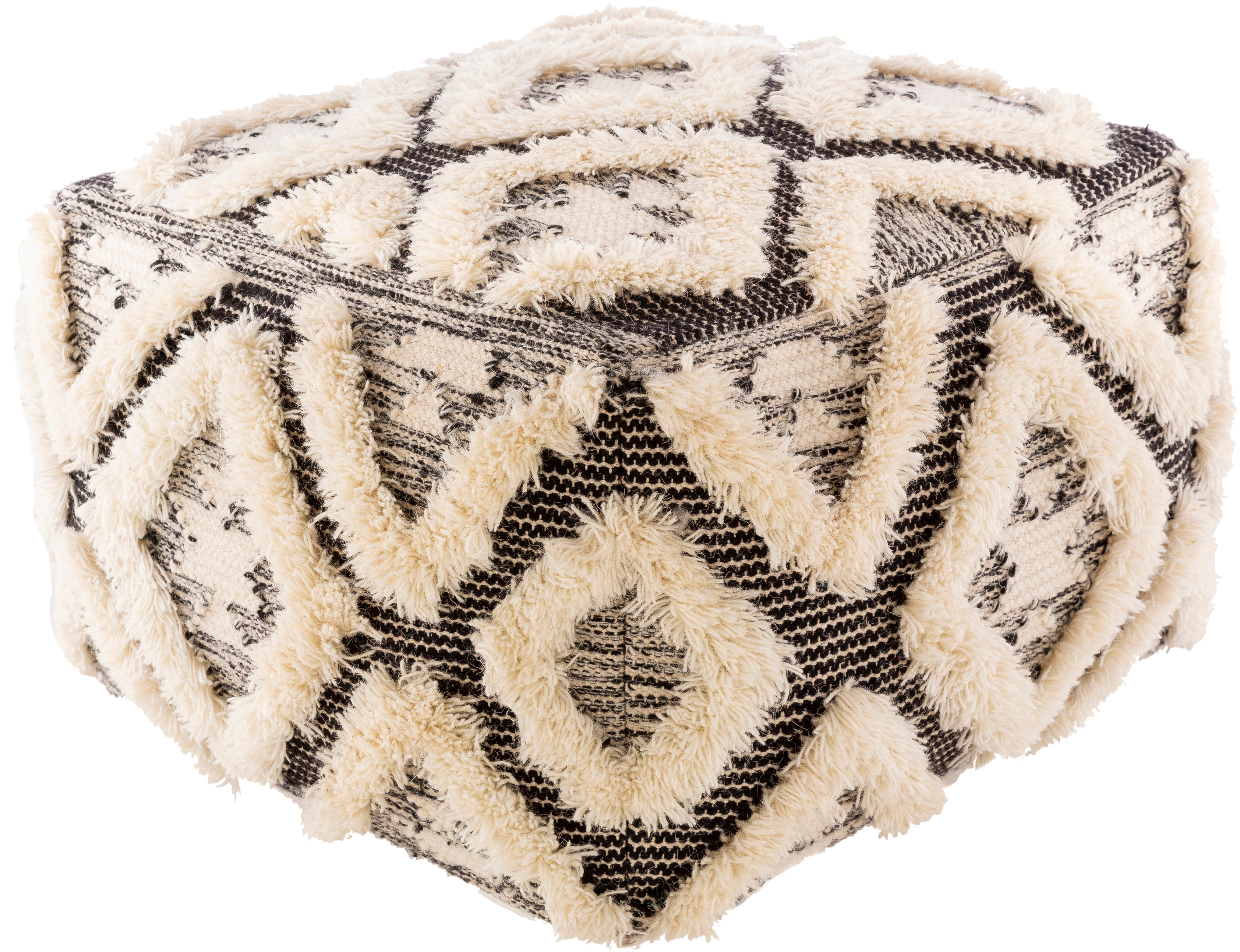 surya apache global rectangle pouf with cream and black finish appf001-222214
